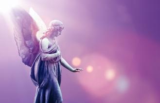 Angel in heaven over purple sky background